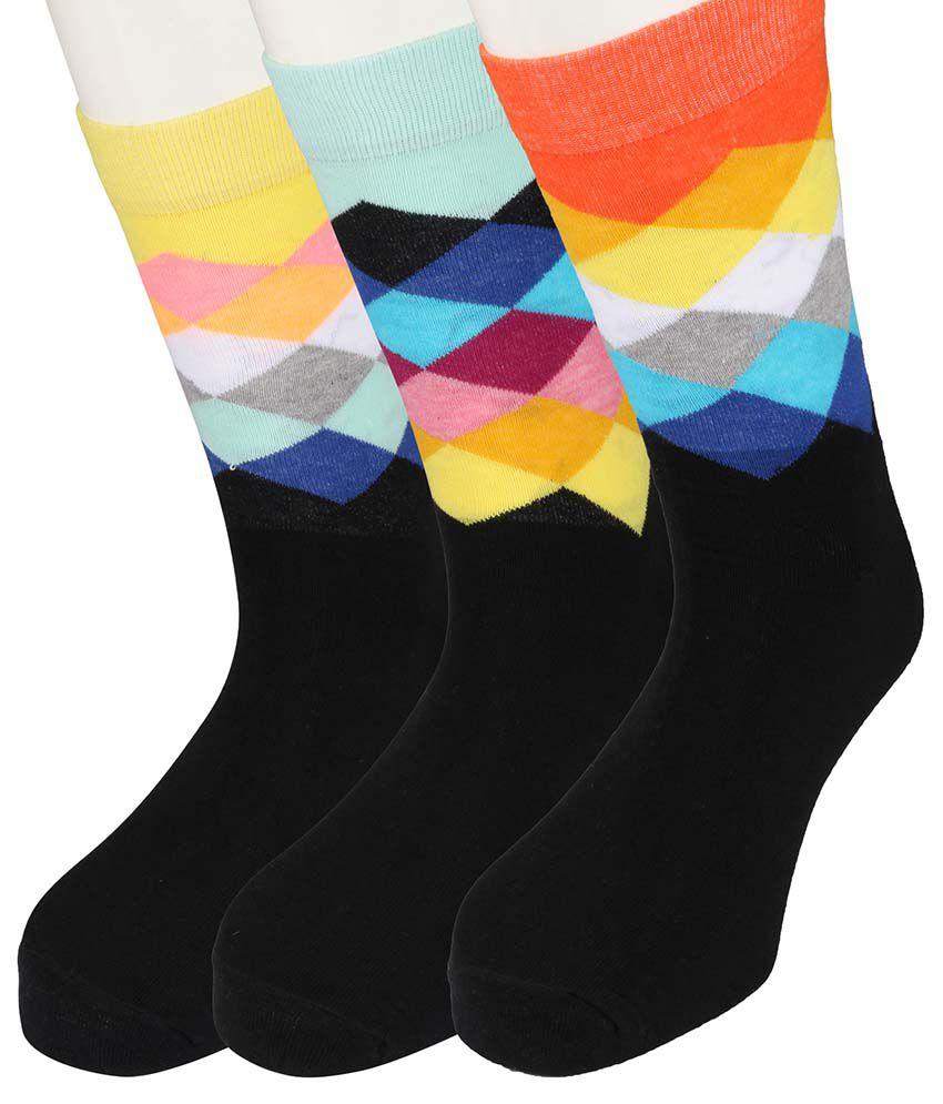 Moo Multicolor Cotton Full Length Socks - Set Of 3