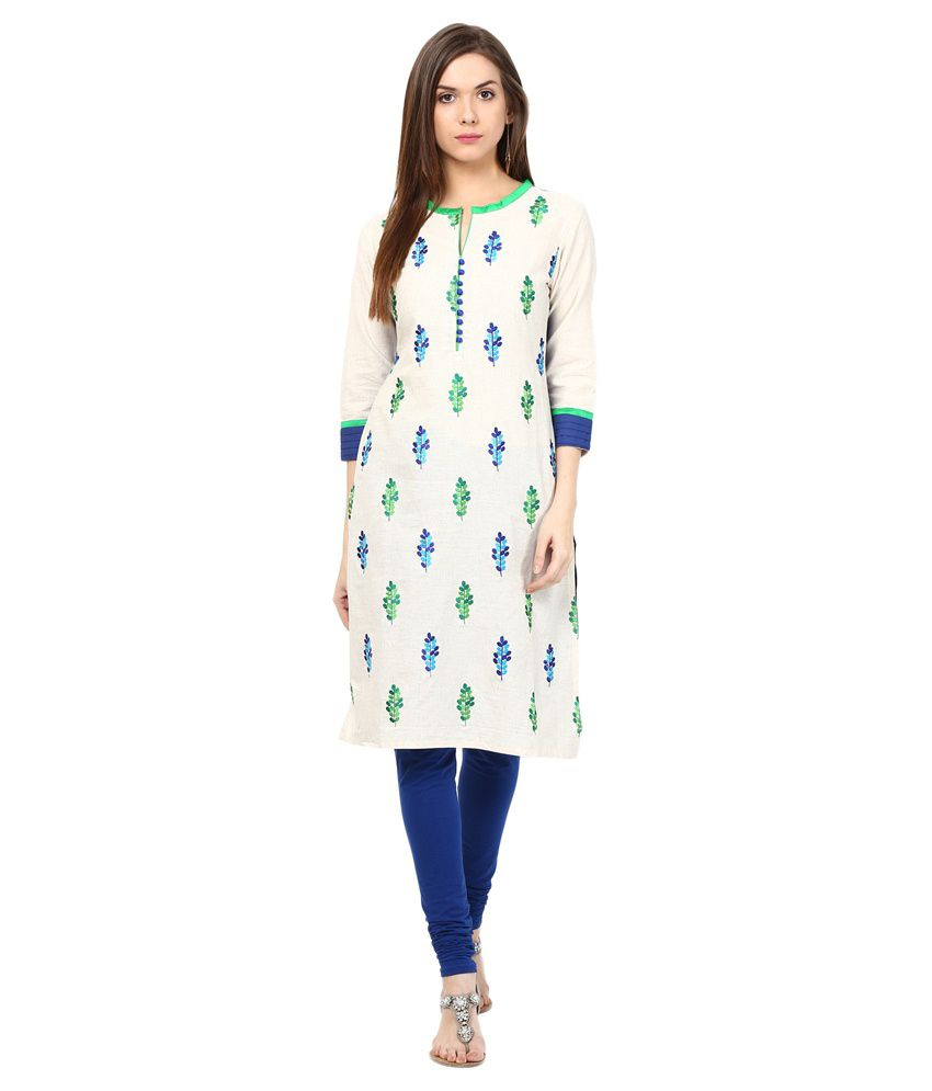 Prakhya Blue Straight Cotton Kurti