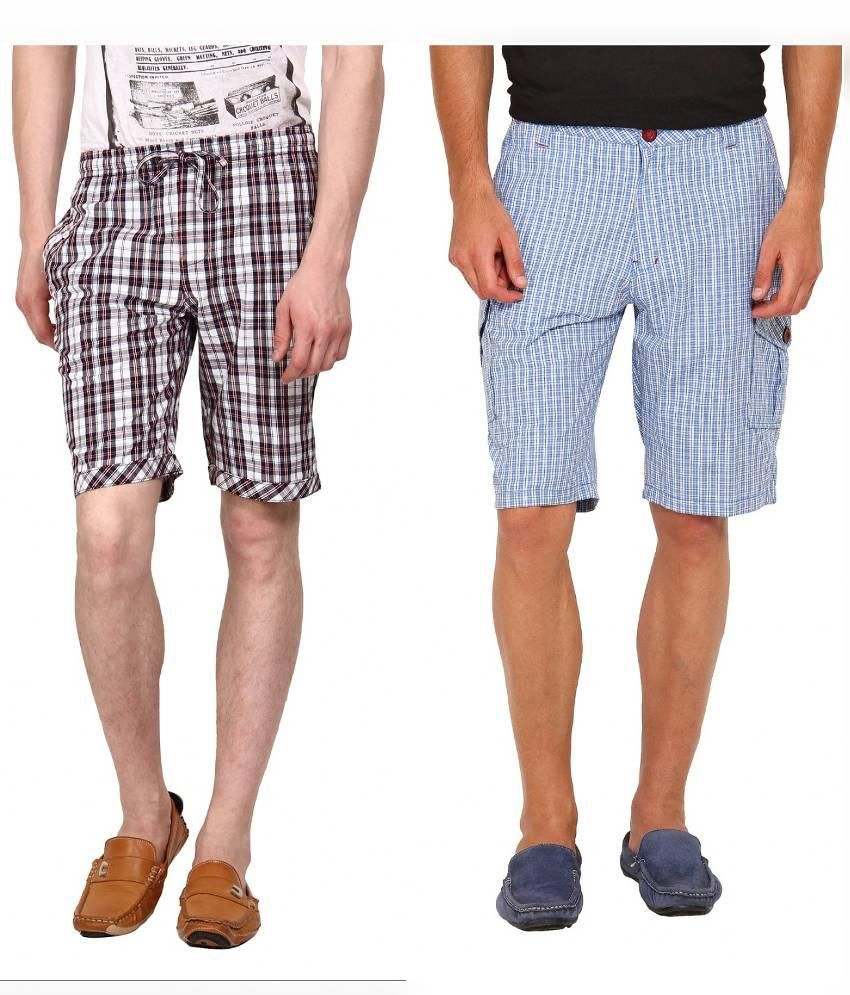 Wajbee Multicolour  Shorts- Pack of 2