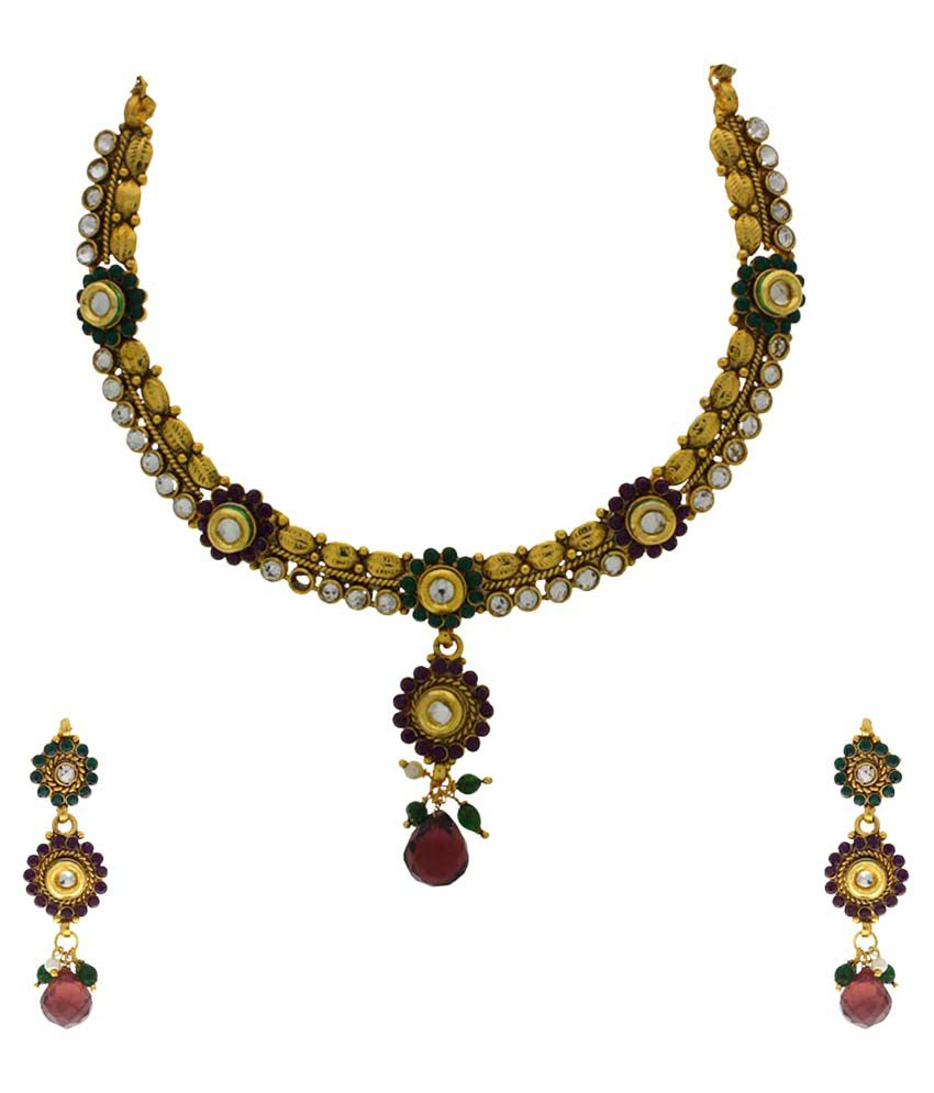 Anuradha Art Multicolour Alloy Necklace Set With Maang Tika