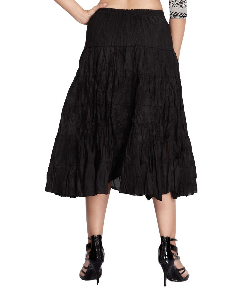 Buy Carrel Black Cotton Midi Skirt Online at Best Prices in India ...