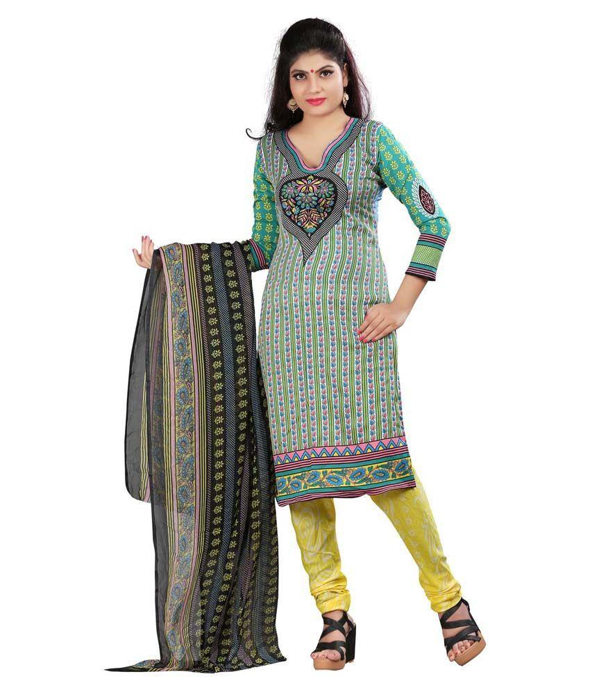 Lakshminarayan Creation Multi Color Crepe Jacquard Unstitched Dress Material