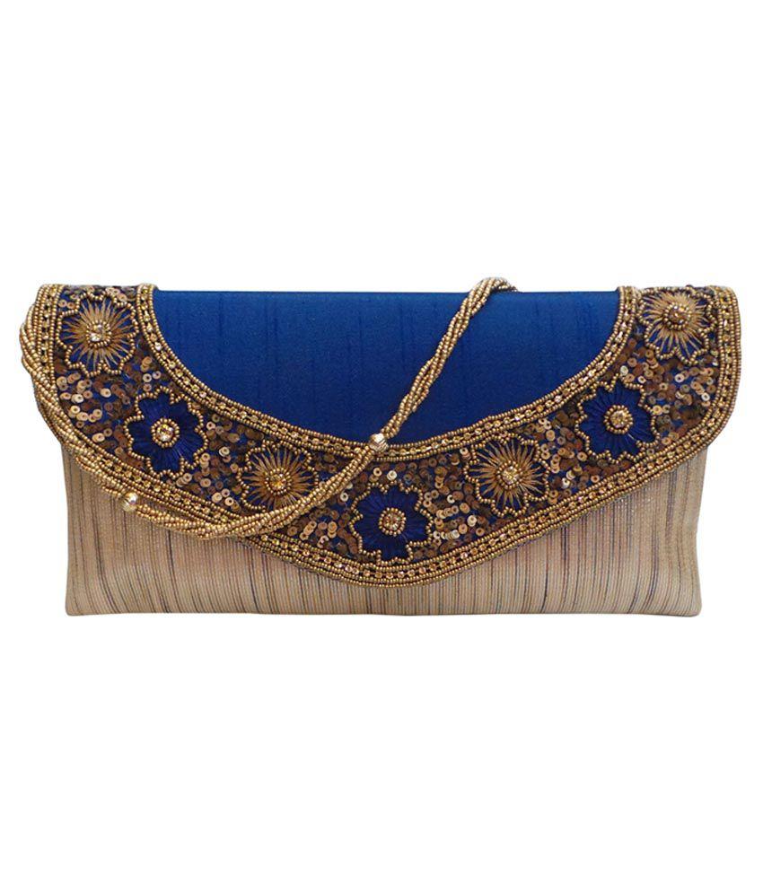 Bhamini Blue Silk Clutch