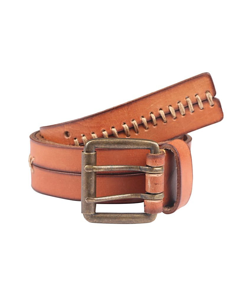 Paradigm Design Lab Tan Leather Casual Belt For Men