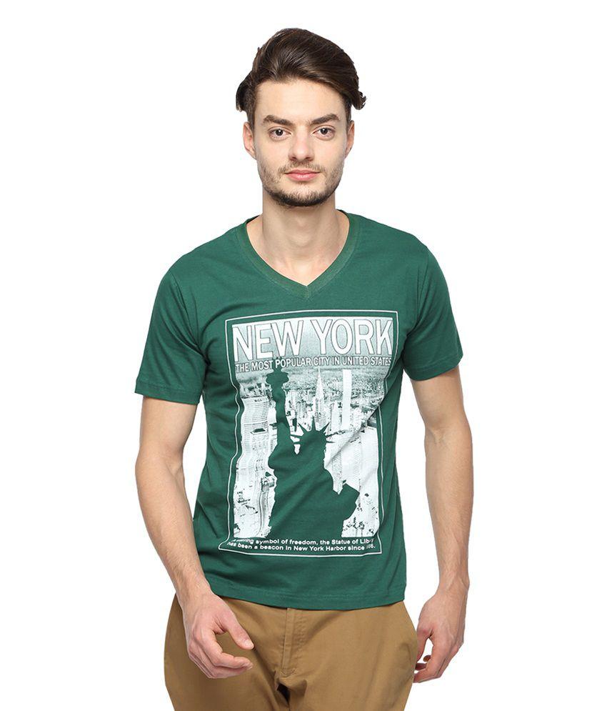 Afylish Green Cotton Printed T-shirt