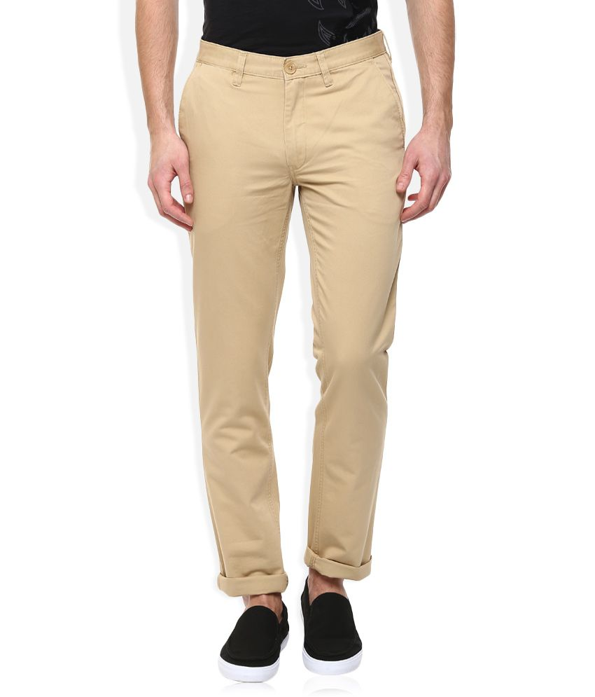 John Players Beige Regular Fit Chinos