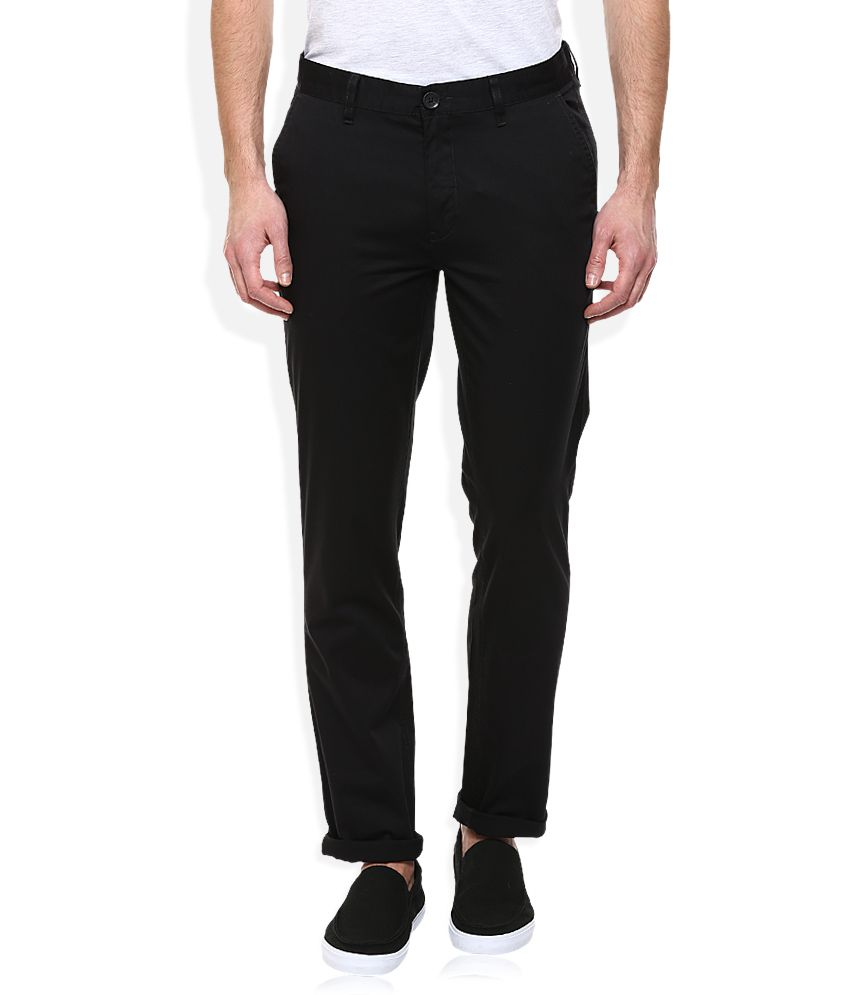 John Players Black Slim Fit Chinos