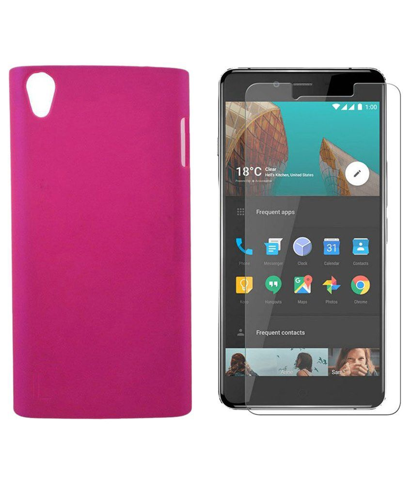 Vvage Back Cover For Oneplus X-pink With Tempered Glass Screen Guard