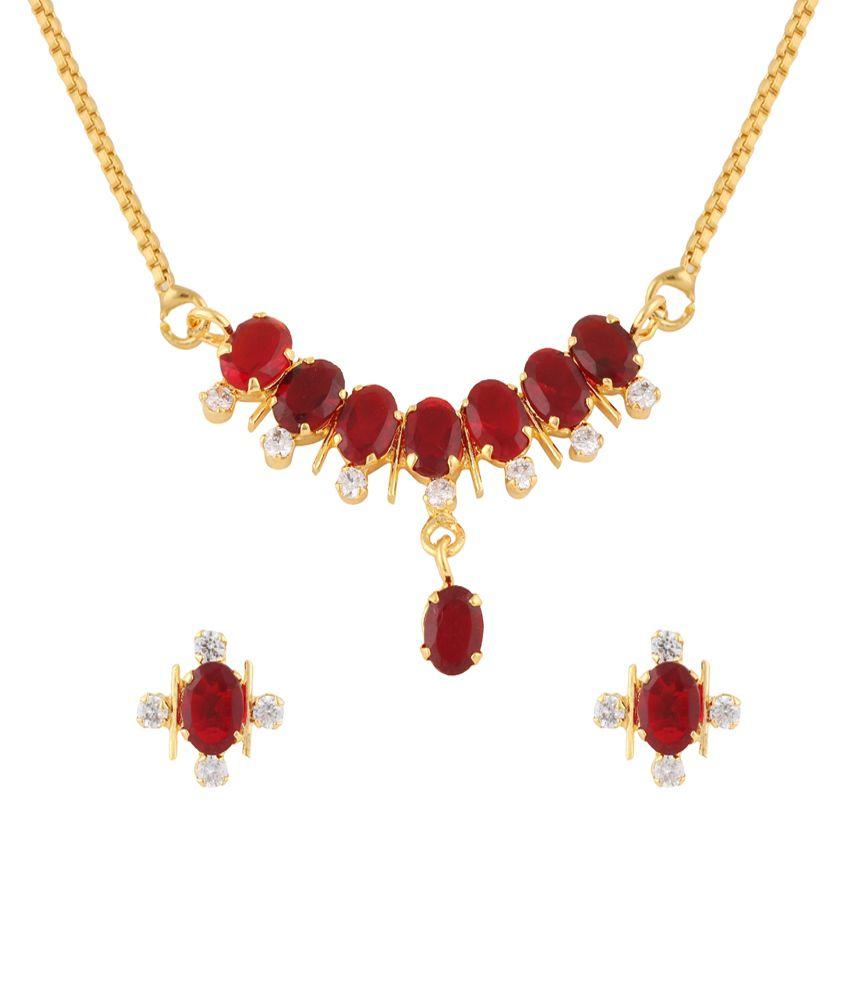 Archi Collection Designer Gold Plated Cz Necklace Set