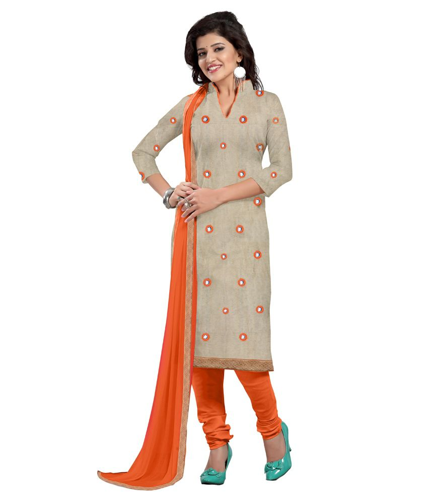 Khushali Beige Khadi Unstitched Dress Material