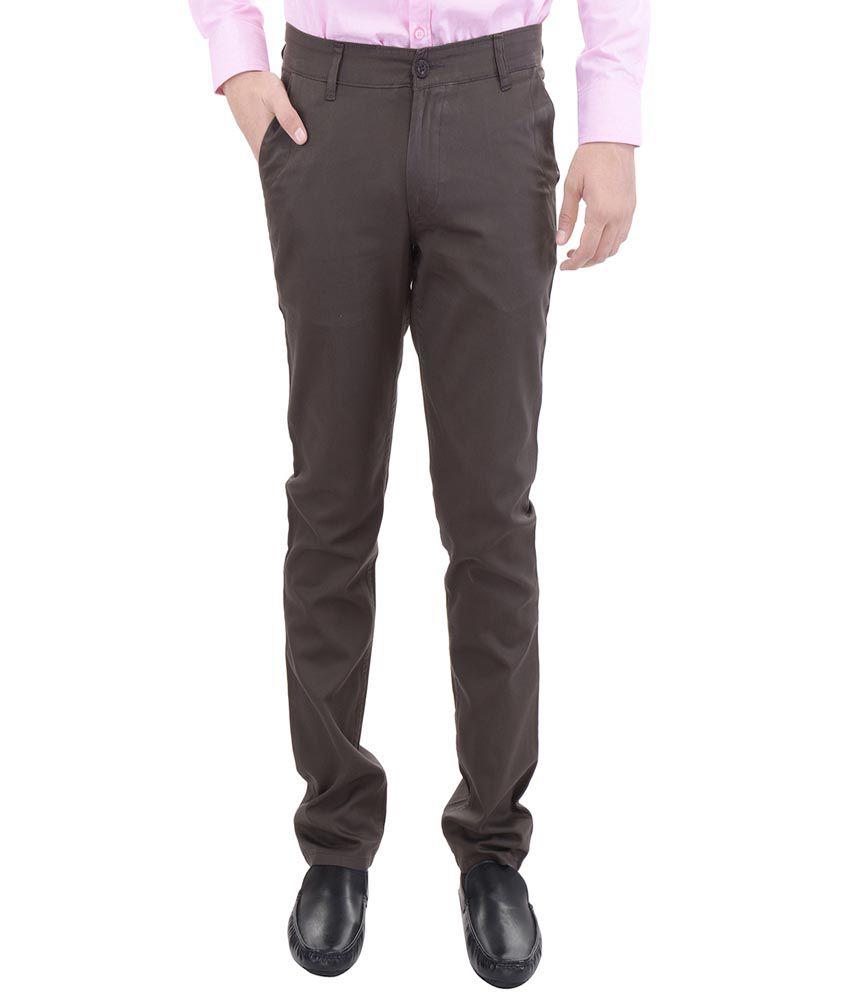 AARP'S Brown Slim Fit Flat Trousers