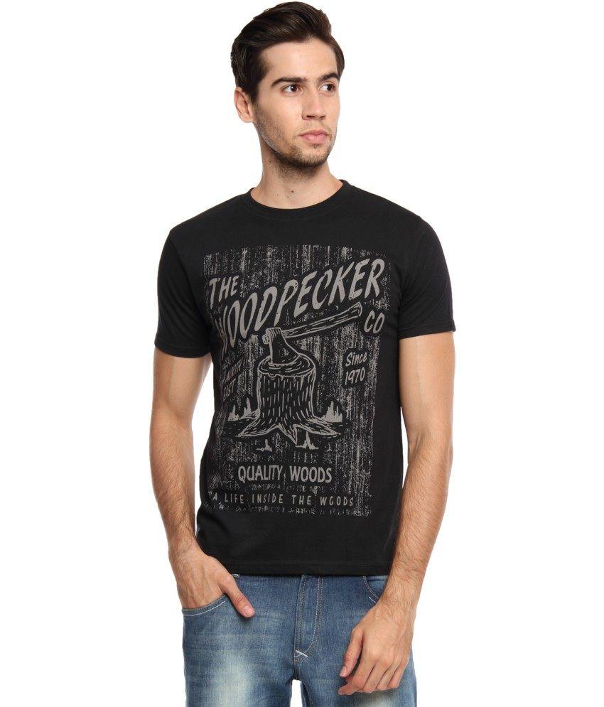 Zovi Black Cotton The Woodpecker Graphic T-shirt