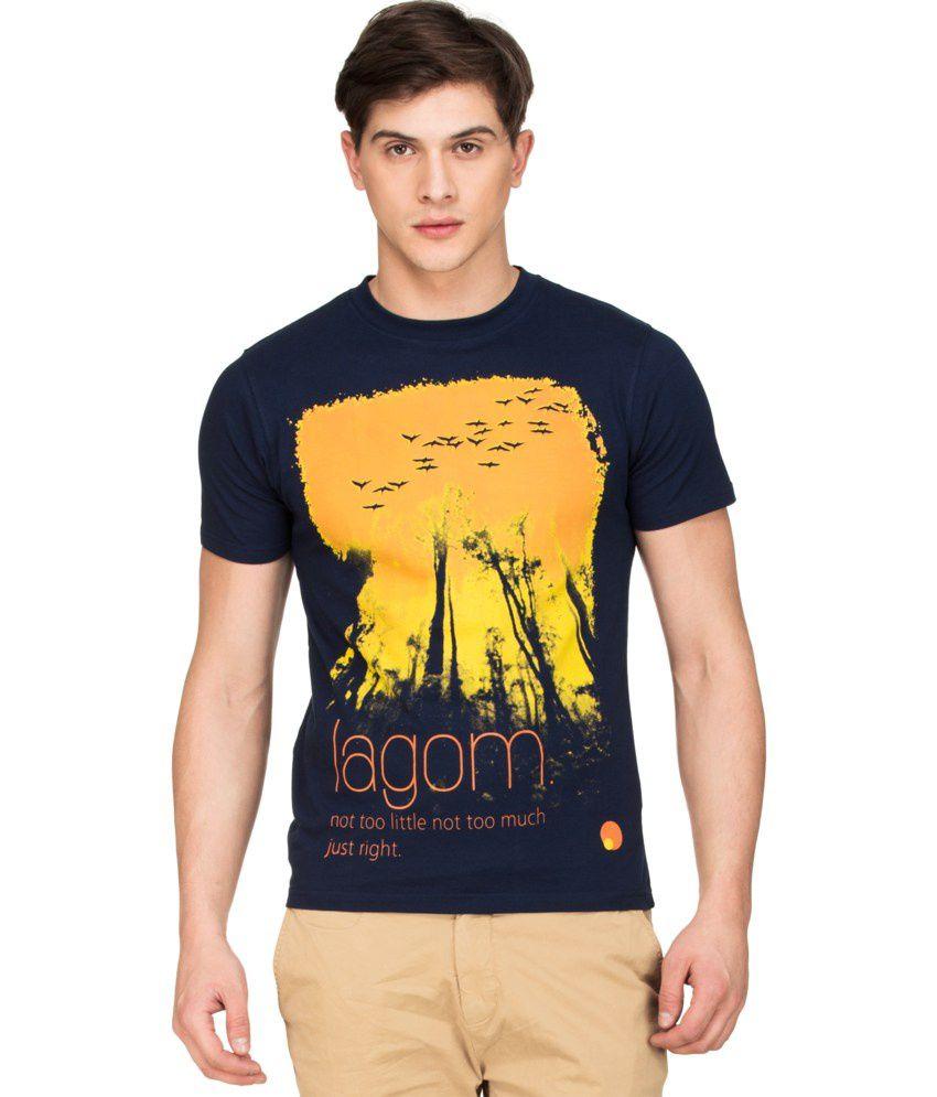 Zovi Navy Cotton Lagom Graphic T-shirt