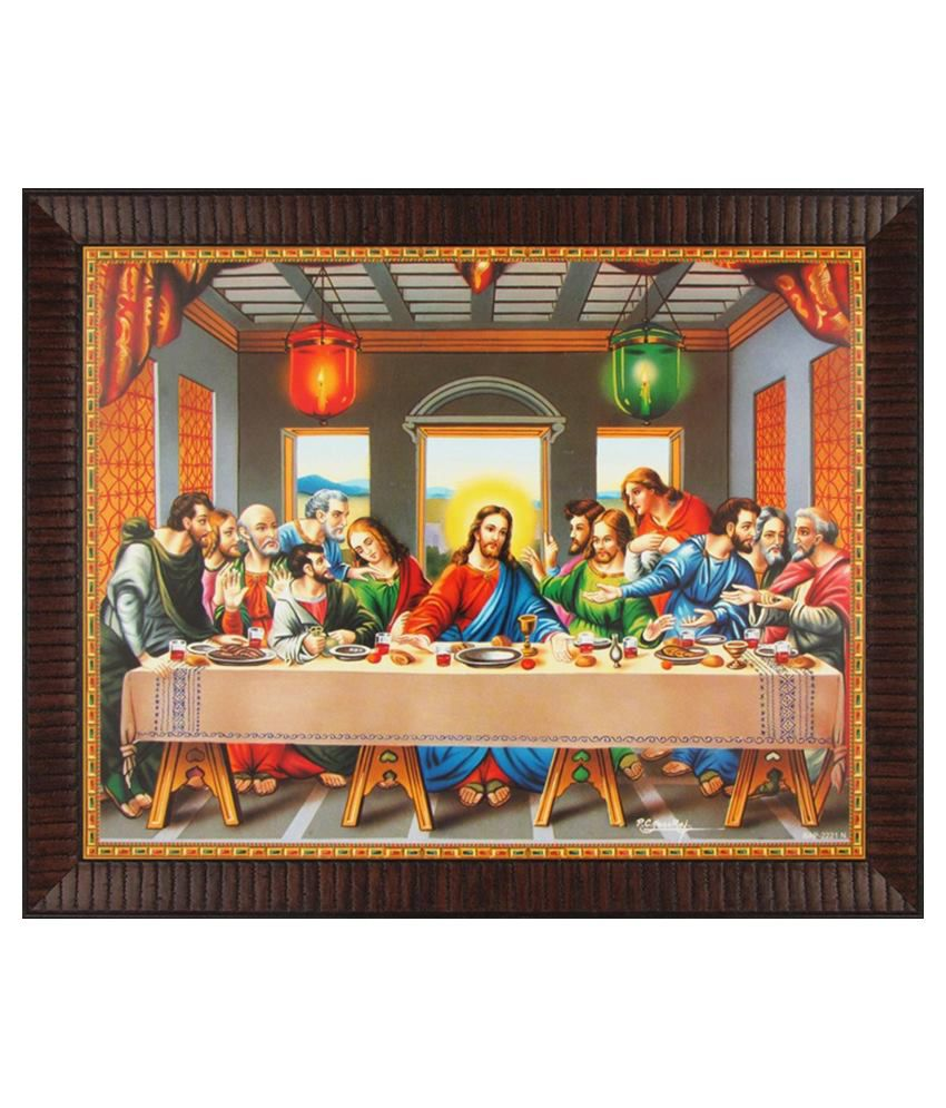 Avercart Jesus Christ The Last Supper Poster 11x9 Inch Framed