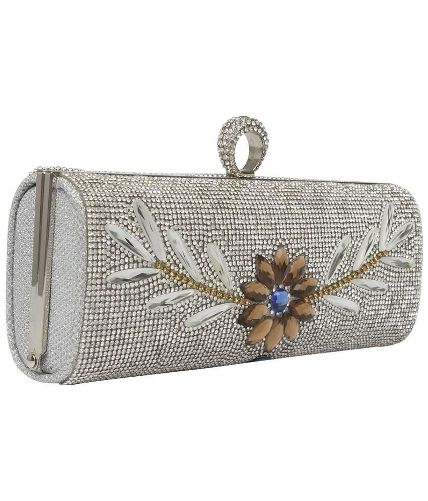 new varieties 100% authentic great discount for Buy Stylo Silver Metal Clutch at Best Prices in India - Snapdeal