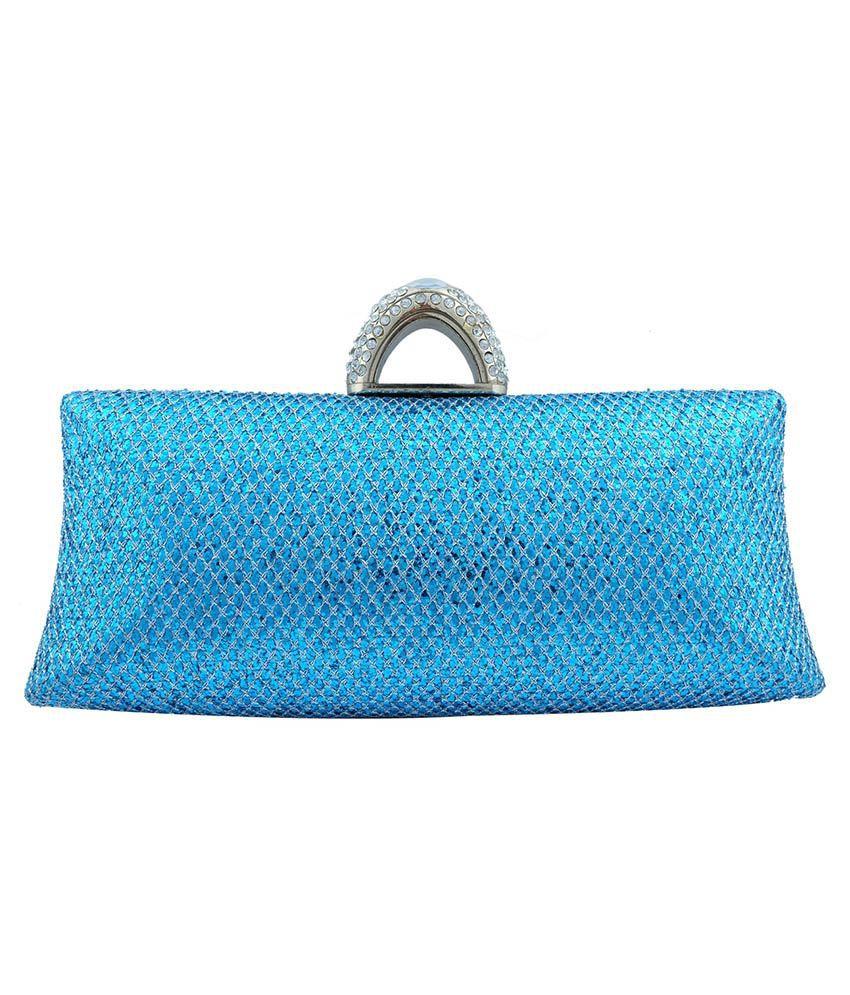 Super Drool Blue Metal Clutch