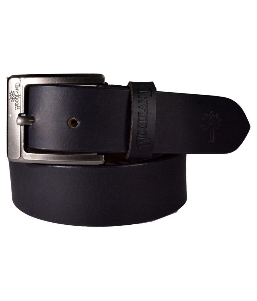 Woodland Black Leather Belt For Men