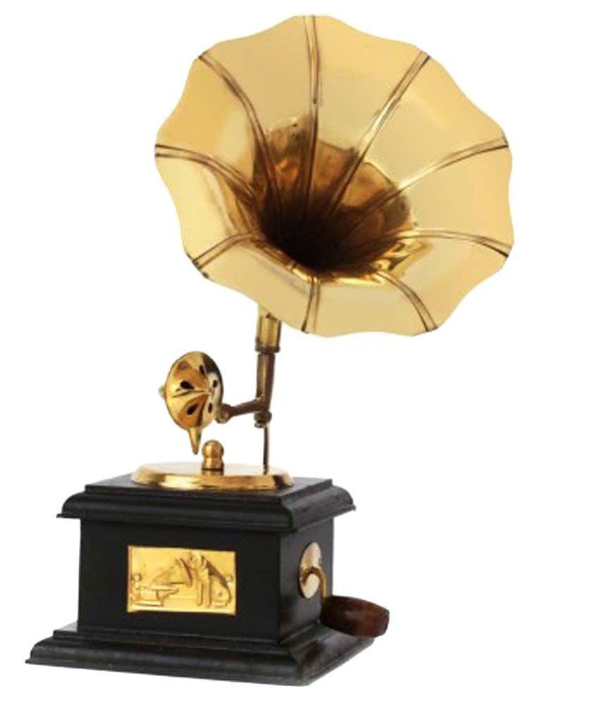 AYMH Golden & Brown Brass Mini Gramophone Showpiece