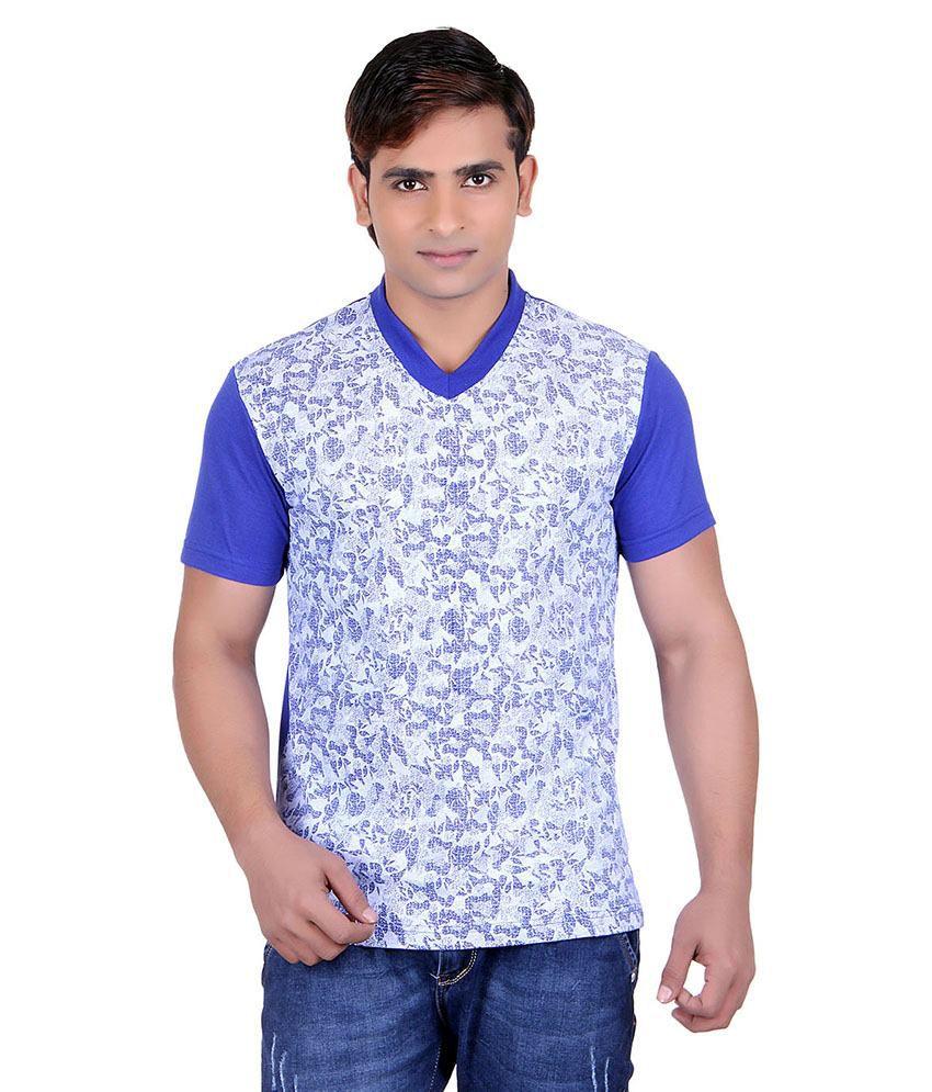 Runn93 Blue V-neck T-shirt