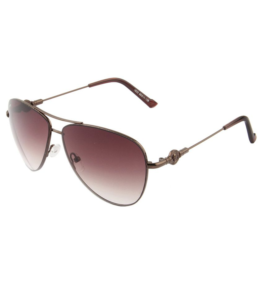 Voyage Brown Aviator Unisex Sunglasses
