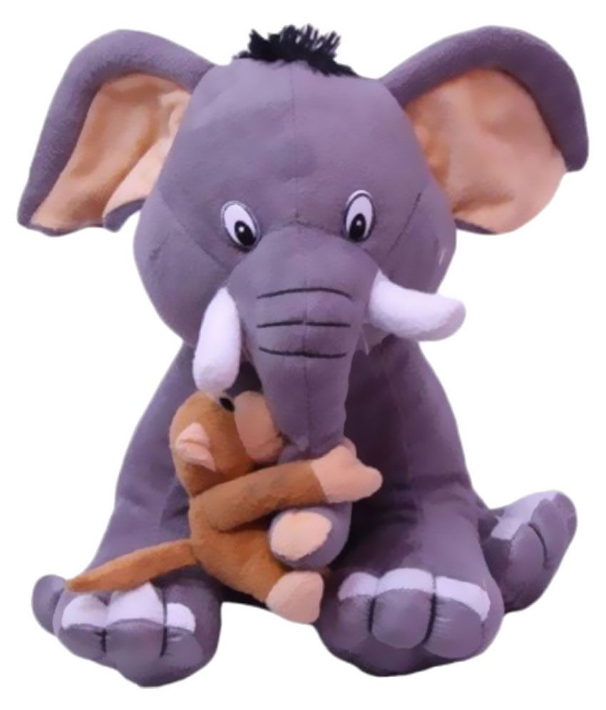 Tiny Tickle Tiny Tickle Multicolour Elephant with Baby Monkey Soft Toy