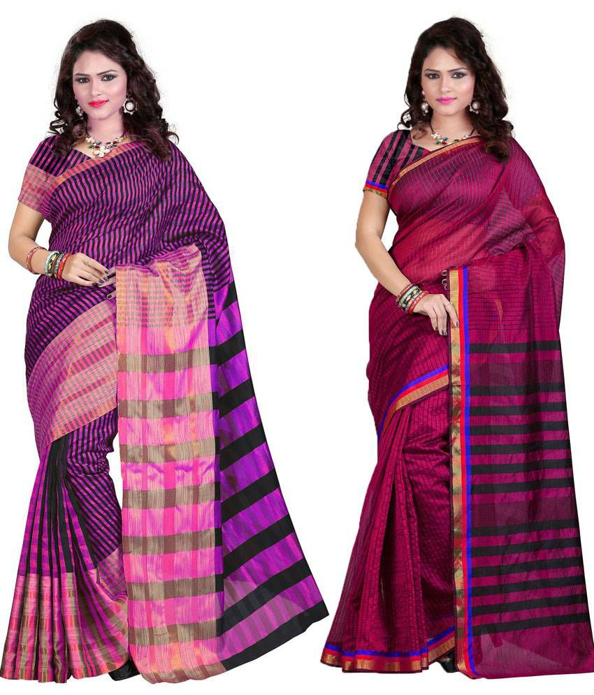 Sareeshop Designer Sarees Multicolour Cotton Silk Pack Of 2