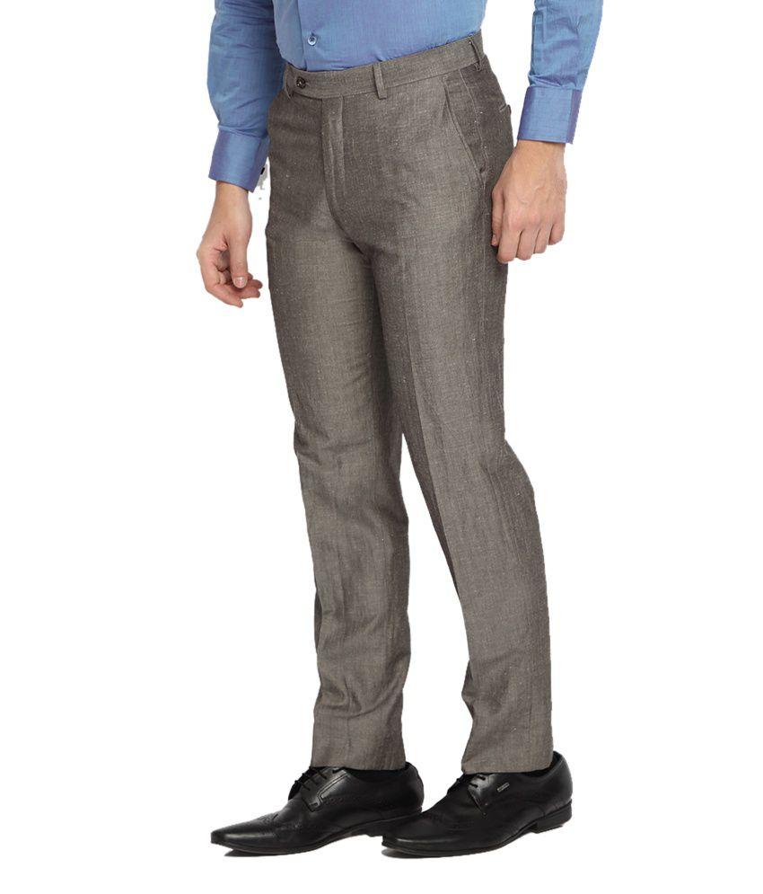 Suitltd Beige Textured Slim Fit Trouser