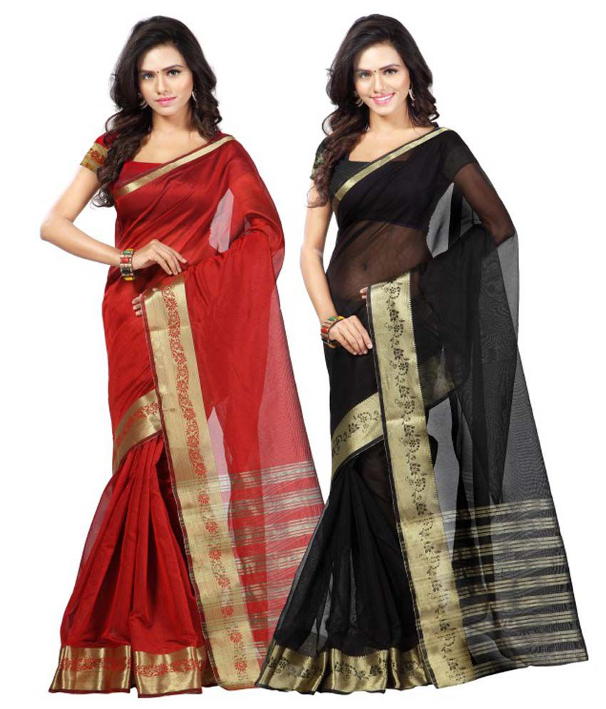 Weavedeal Red And Black Chanderi Pack Of 2
