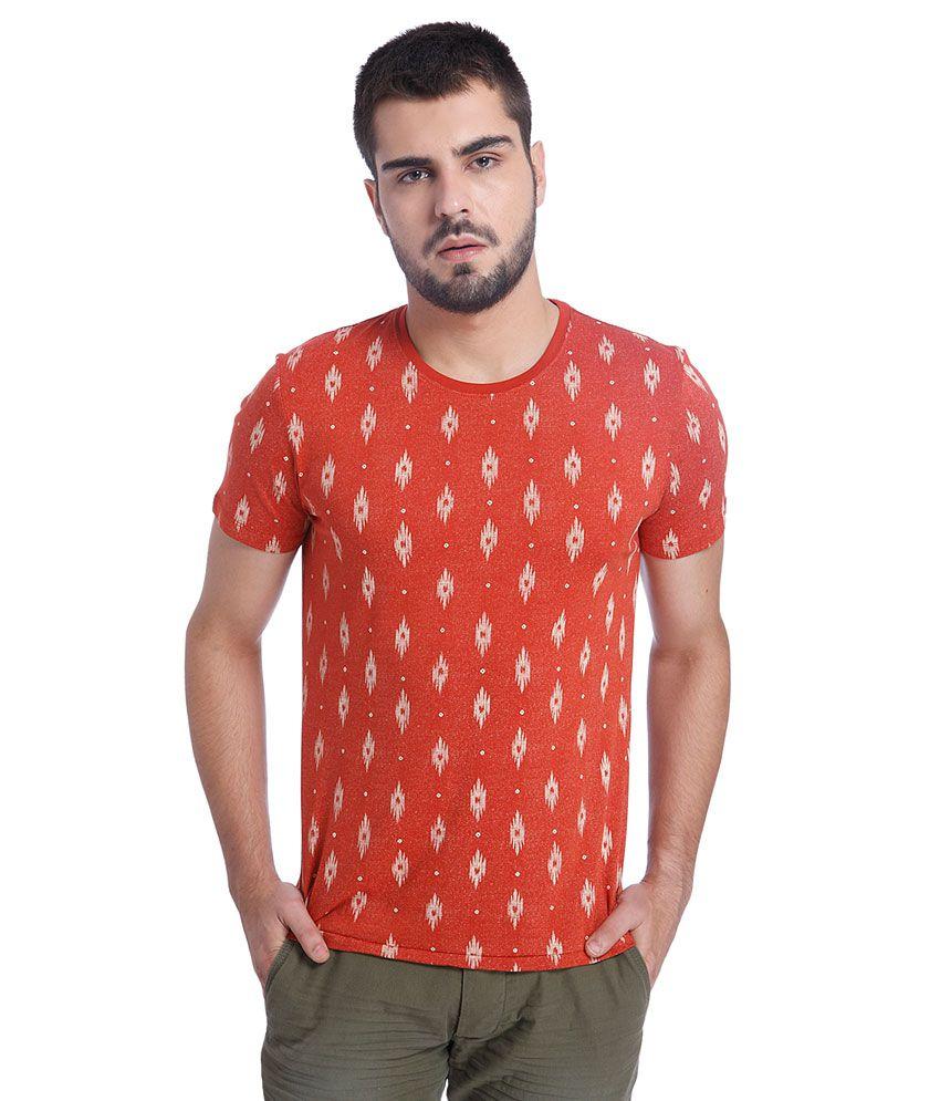 Jack & Jones Red Printed T-Shirt