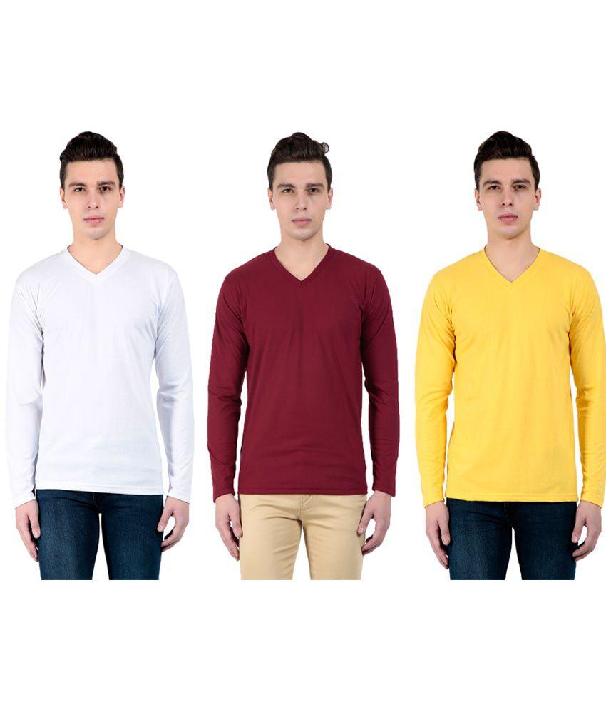 Zeki Multicolour V-neck T-shirt - Pack Of 3
