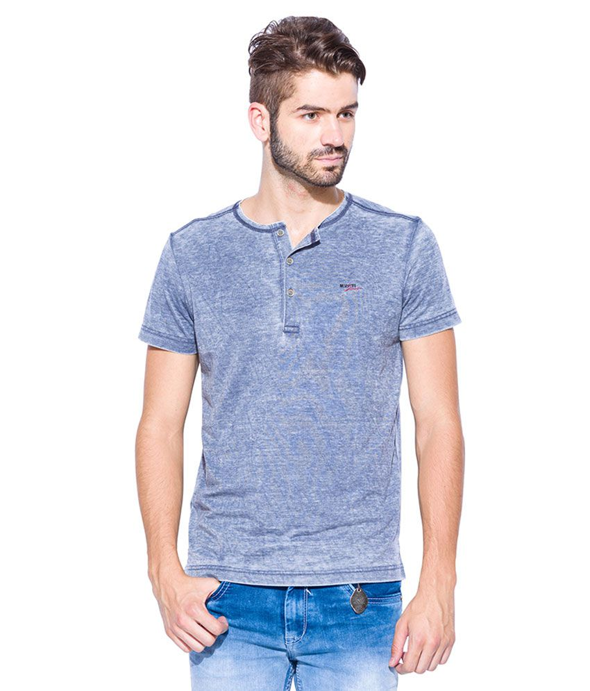 Mufti Blue Round Neck T Shirt