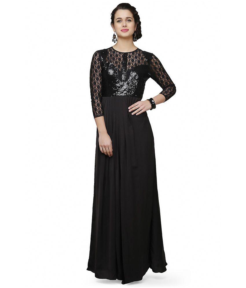 Eavan Black Lace Gowns - Buy Eavan Black Lace Gowns Online at Best ...
