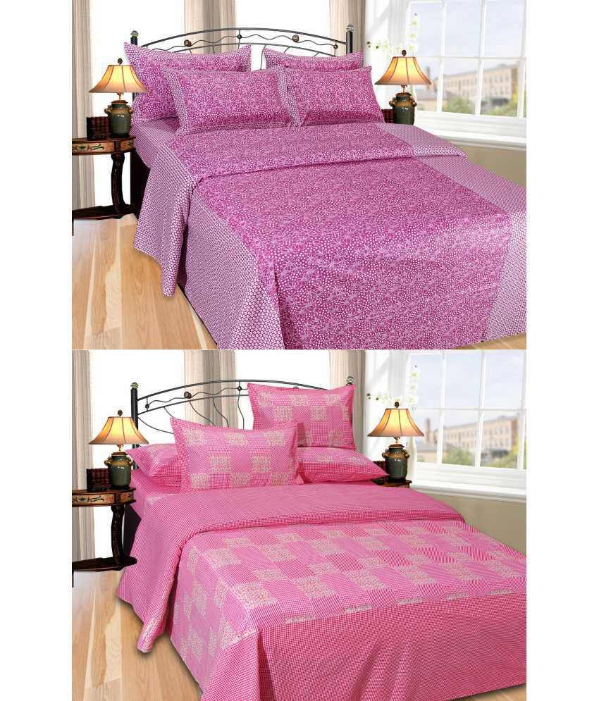 Handloom Villa Pink & Purple Cotton 2 Bedheet And 4 Pillow Covers