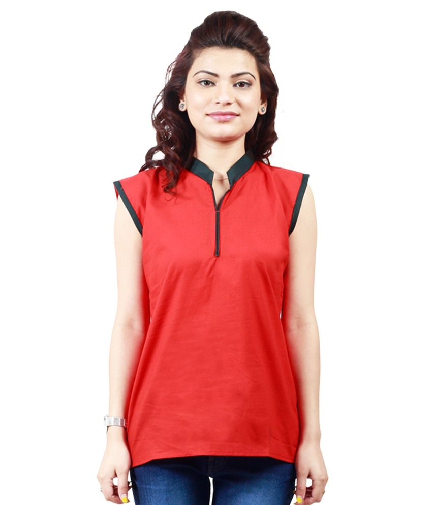 Alive Red Cotton Silk Kurti