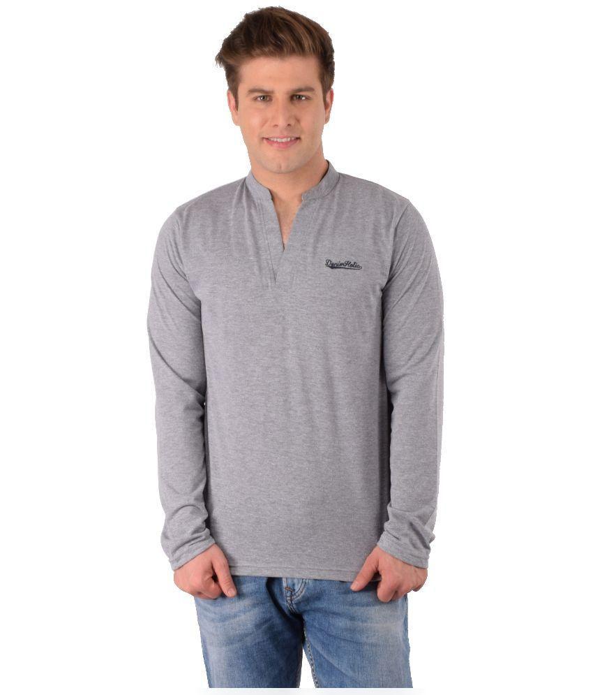Denimholic Grey Cotton Blend T-Shirt