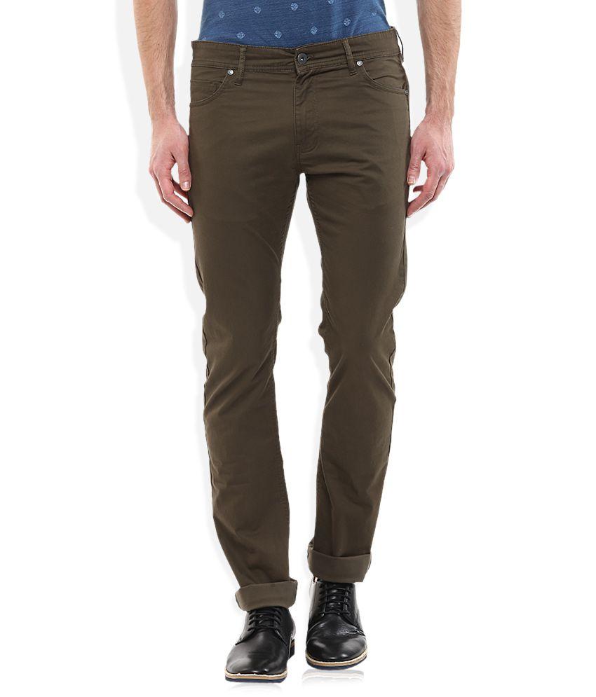 Celio Khaki Regular Fit Flat Trousers