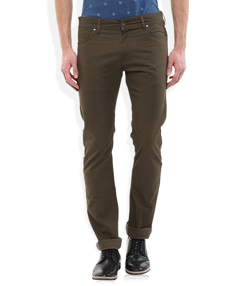 Celio Khaki Regular Fit Flat Trousers