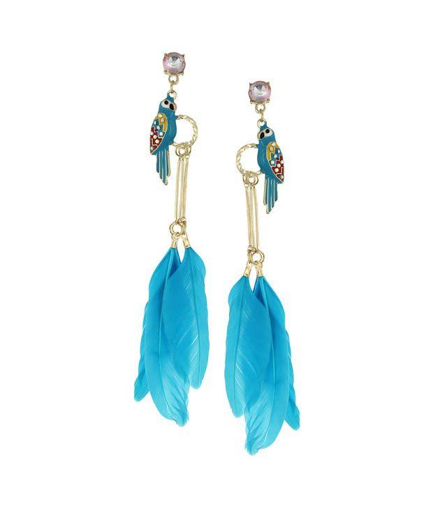Fayon Blue Colour Beaded Designer Earrings