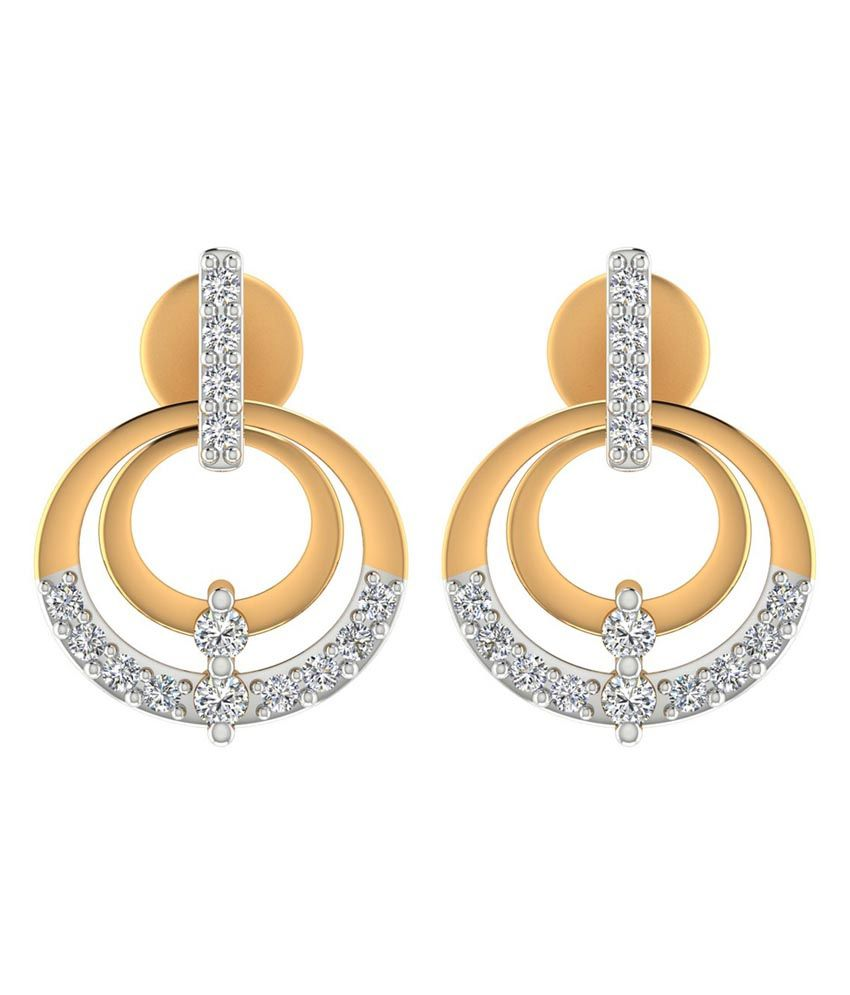 Jewels Of Jaipur 14 Kt Gold Style Diamond Drop Earrings