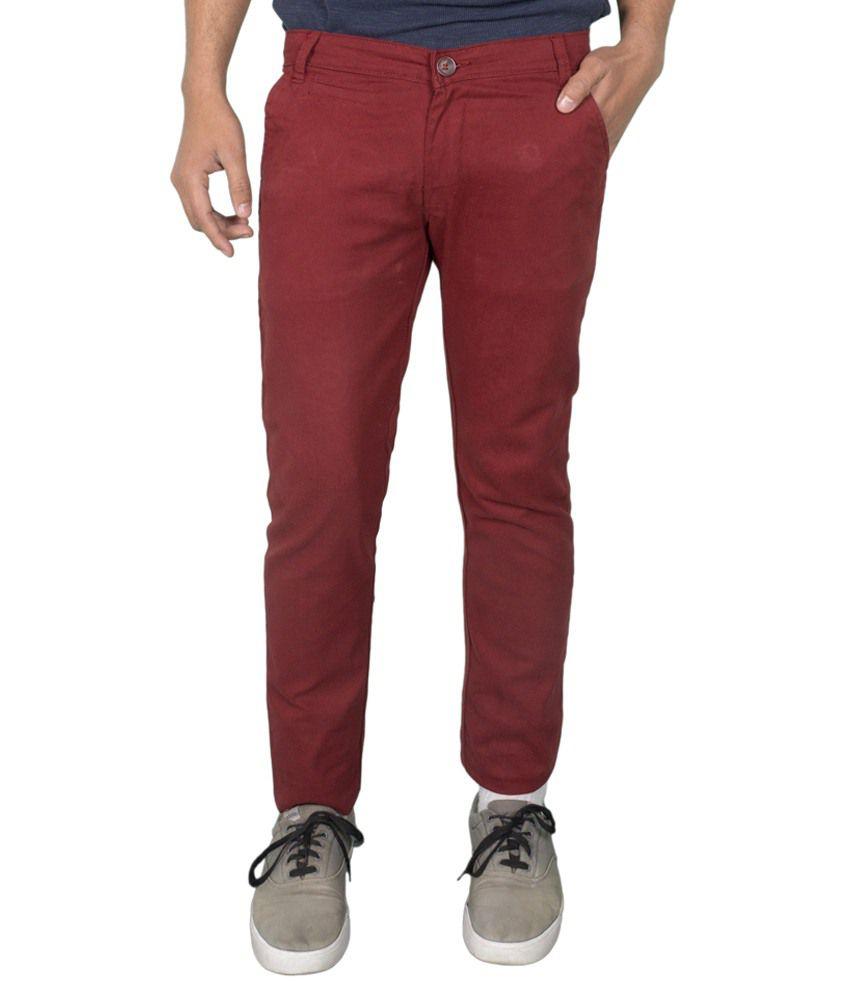 Calveen Red Slim Fit Chinos