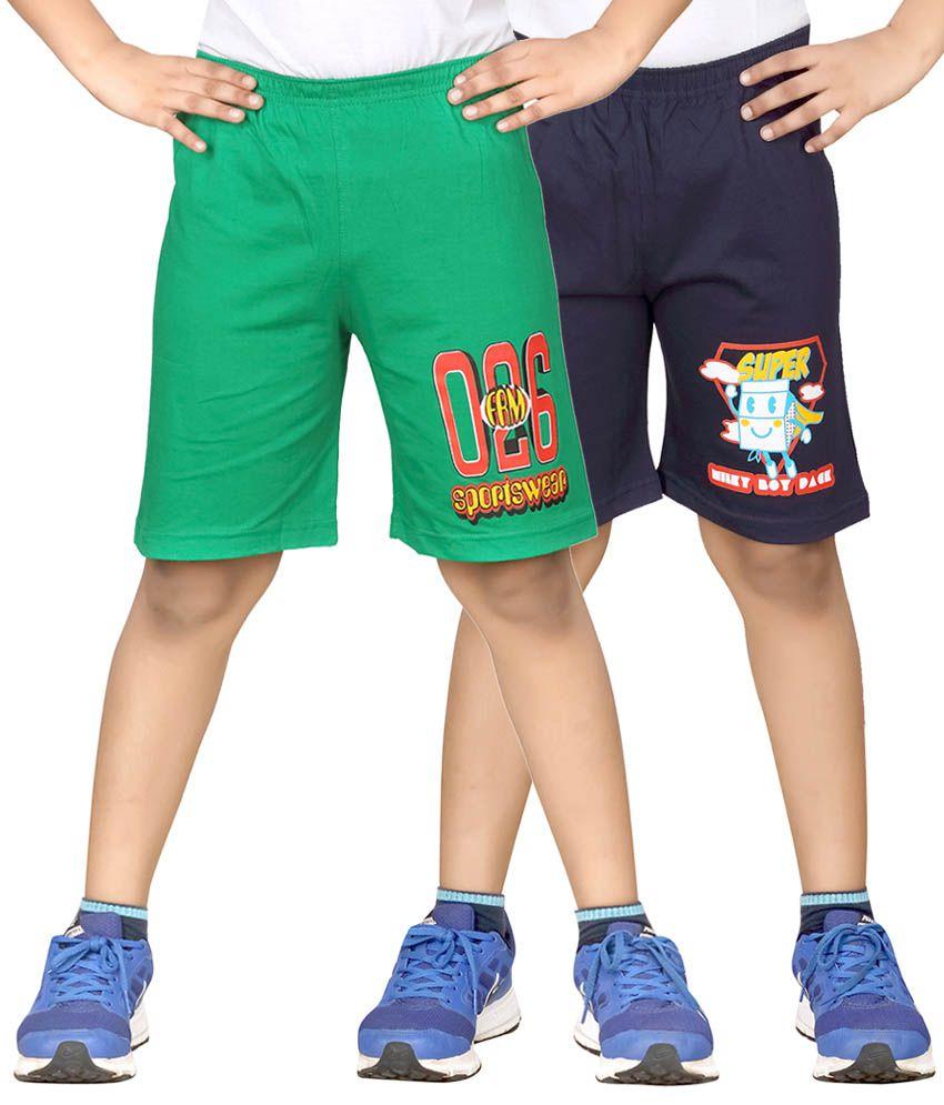 Dongli Green & Navy Shorts For Boys Set Of 2