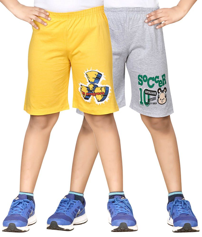 Dongli Yellow & Gray Shorts For Boys Set Of 2