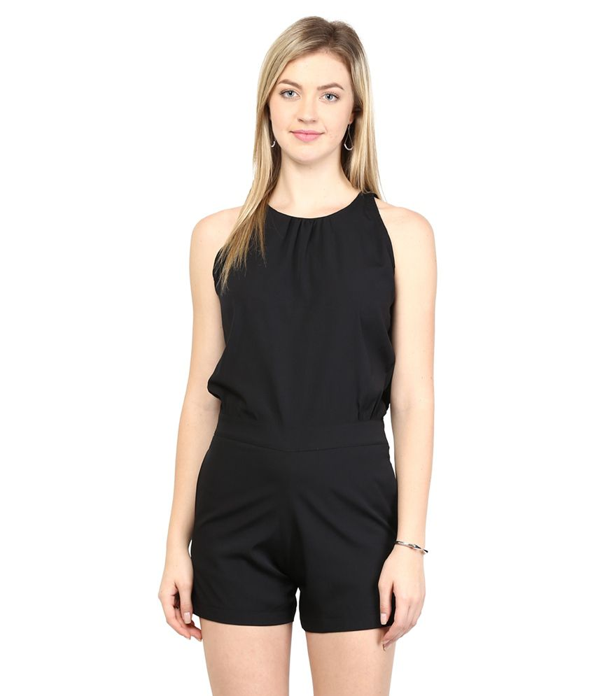 Miss Chase Black  PLAYSUIT For Women Sleeveless Casual Wear
