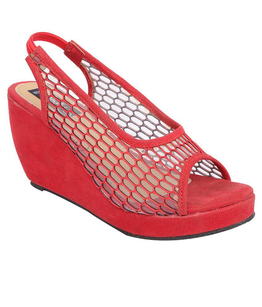 Sindhi Footwear Red Wedges Heels