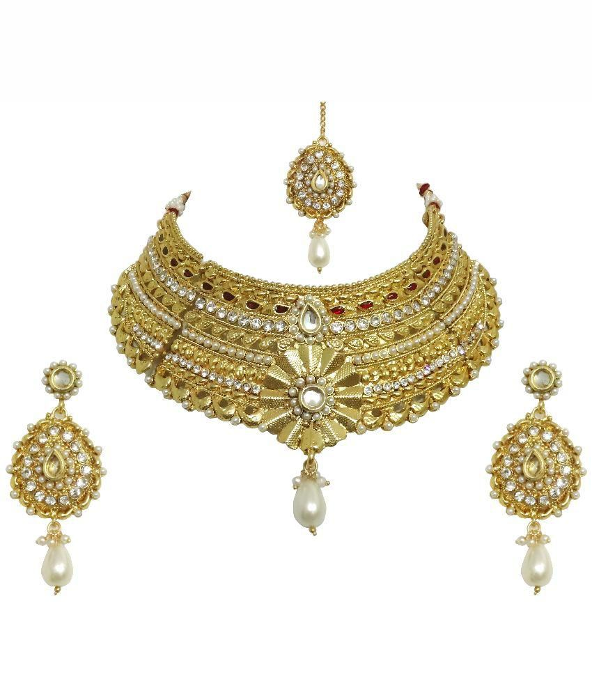 Arts Chetan Golden Semi Bridal Necklace Set With Maang Tika