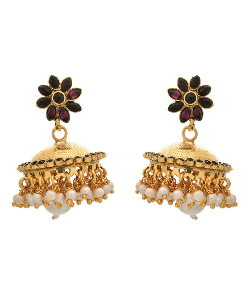 Jfl - Jewellery For Less Black Gold Plated Jhumkis