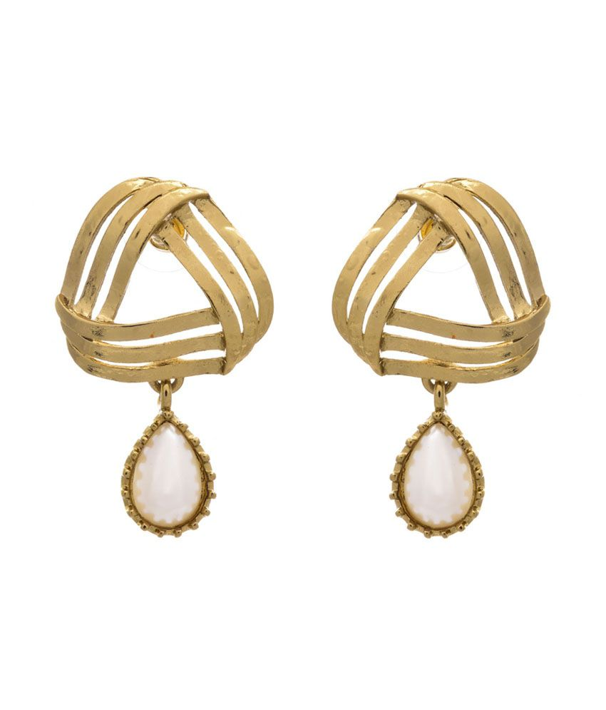 Jfl - Jewellery For Less White Gold Plated Drop Earrings