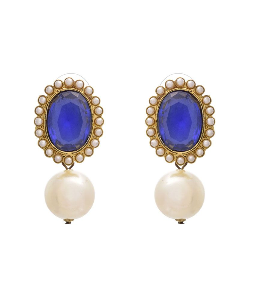 Jfl - Jewellery For Less Blue Gold Plated Stud Earrings