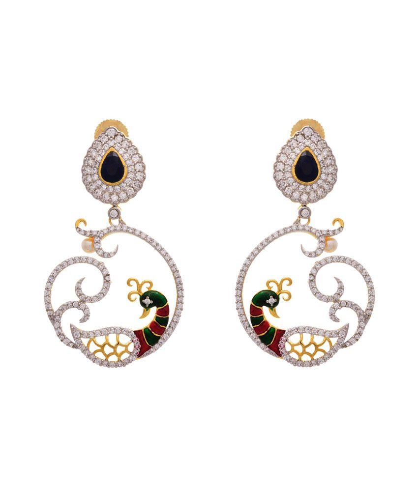 Jfl - Jewellery For Less Blue Mayur Hanging Earrings