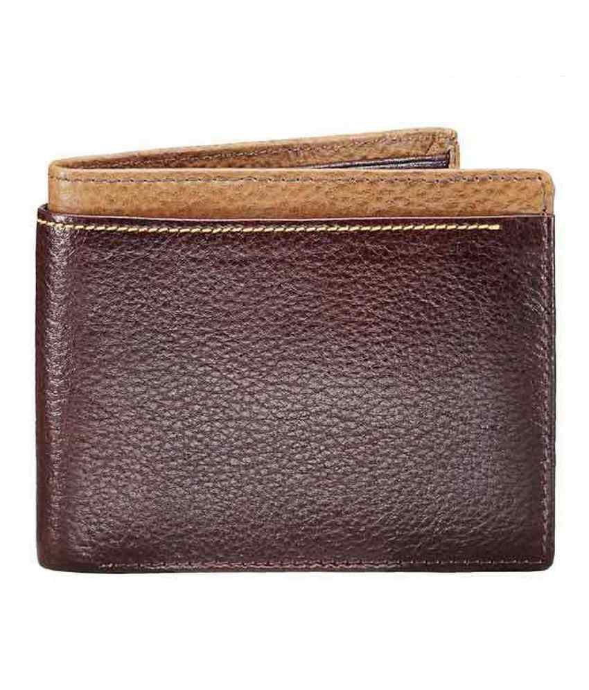 WalletsnBags Brown With Beige Edge Wallet